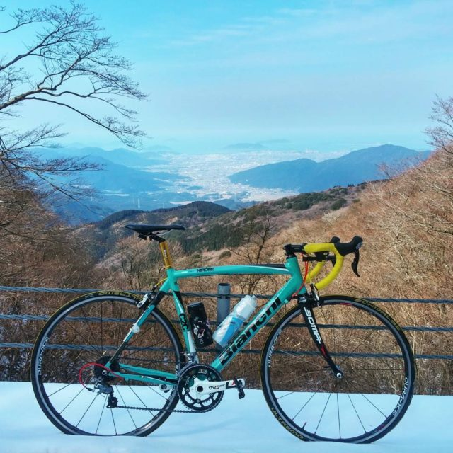 Bianchi Nirone 7 in snow mountain